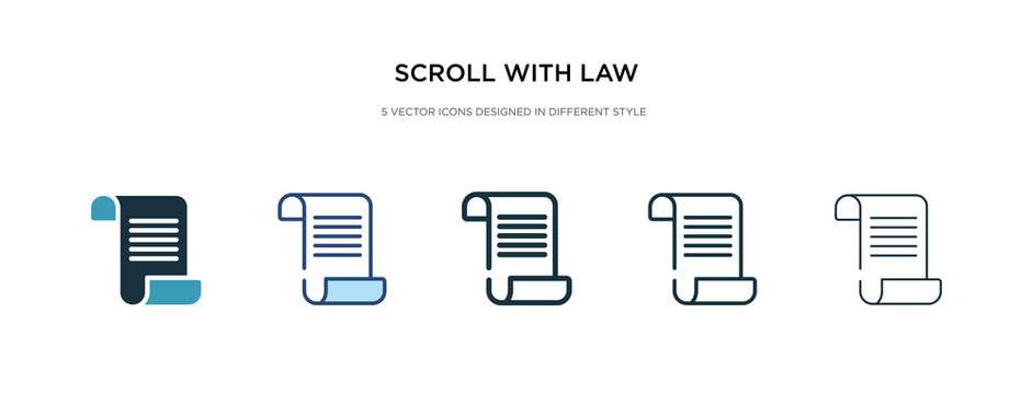 scroll with law icon in different style vector illustration. two colored and black scroll with law vector icons designed in filled, outline, line and stroke style can be used for web, mobile, ui