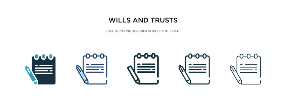 wills and trusts icon in different style vector illustration. two colored and black wills and trusts vector icons designed in filled, outline, line stroke style can be used for web, mobile, ui