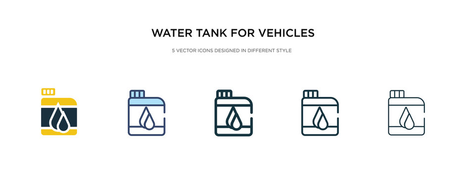 water tank for vehicles icon in different style vector illustration. two colored and black water tank for vehicles vector icons designed in filled, outline, line and stroke style can be used for