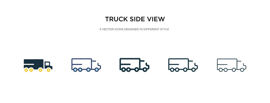 truck side view icon in different style vector illustration. two colored and black truck side view vector icons designed in filled, outline, line and stroke style can be used for web, mobile, ui
