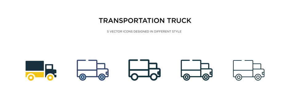 transportation truck icon in different style vector illustration. two colored and black transportation truck vector icons designed in filled, outline, line and stroke style can be used for web,