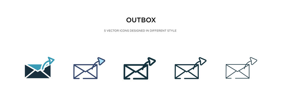 outbox icon in different style vector illustration. two colored and black outbox vector icons designed in filled, outline, line and stroke style can be used for web, mobile, ui