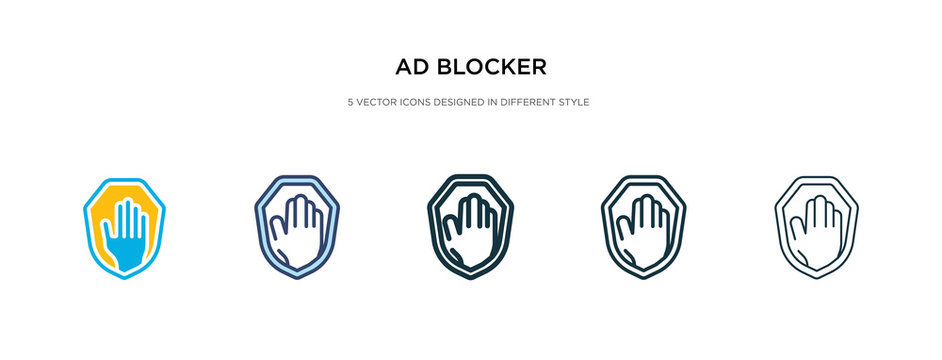 ad blocker icon in different style vector illustration. two colored and black ad blocker vector icons designed in filled, outline, line and stroke style can be used for web, mobile, ui