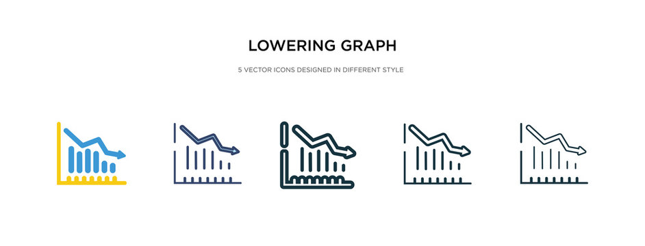 lowering graph icon in different style vector illustration. two colored and black lowering graph vector icons designed in filled, outline, line and stroke style can be used for web, mobile, ui