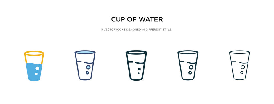cup of water icon in different style vector illustration. two colored and black cup of water vector icons designed in filled, outline, line and stroke style can be used for web, mobile, ui