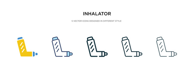 inhalator icon in different style vector illustration. two colored and black inhalator vector icons designed in filled, outline, line and stroke style can be used for web, mobile, ui