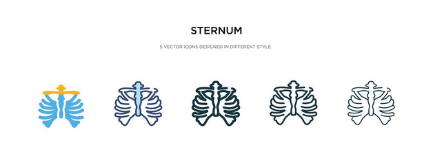 sternum icon in different style vector illustration. two colored and black sternum vector icons designed in filled, outline, line and stroke style can be used for web, mobile, ui