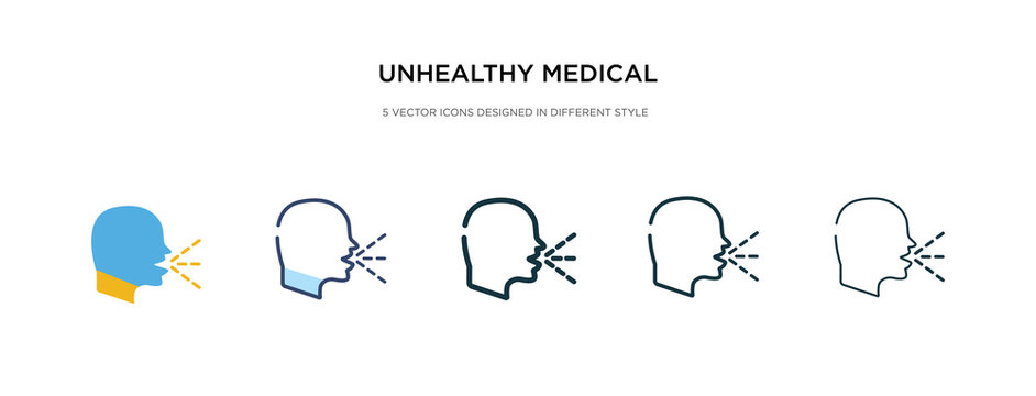 unhealthy medical condition icon in different style vector illustration. two colored and black unhealthy medical condition vector icons designed in filled, outline, line and stroke style can be used