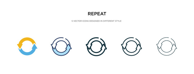 repeat icon in different style vector illustration. two colored and black repeat vector icons designed in filled, outline, line and stroke style can be used for web, mobile, ui