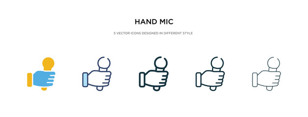 hand mic icon in different style vector illustration. two colored and black hand mic vector icons designed in filled, outline, line and stroke style can be used for web, mobile, ui