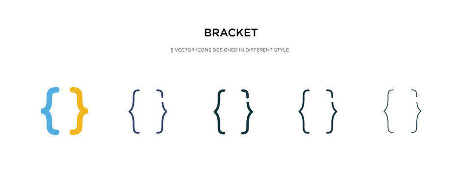 bracket icon in different style vector illustration. two colored and black bracket vector icons designed in filled, outline, line and stroke style can be used for web, mobile, ui