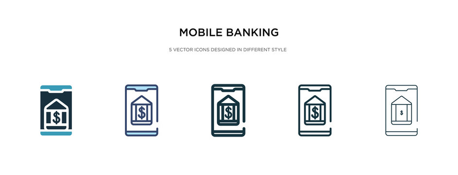 mobile banking icon in different style vector illustration. two colored and black mobile banking vector icons designed in filled, outline, line and stroke style can be used for web, mobile, ui