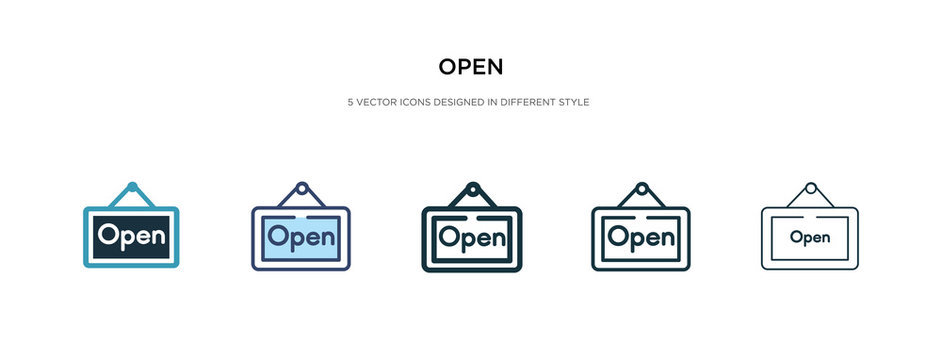 open icon in different style vector illustration. two colored and black open vector icons designed in filled, outline, line and stroke style can be used for web, mobile, ui