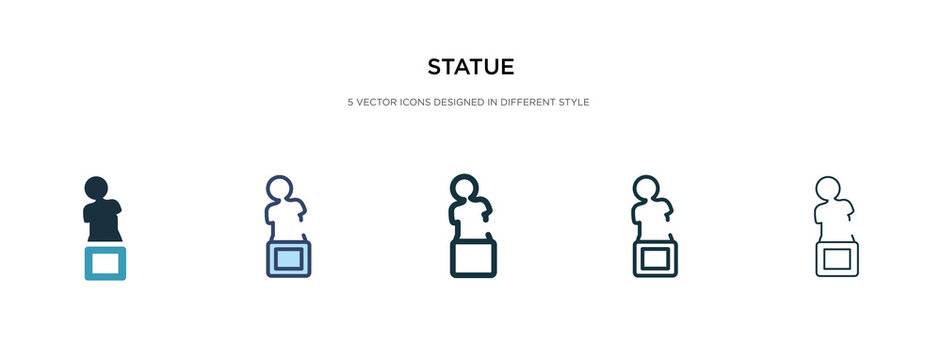 statue icon in different style vector illustration. two colored and black statue vector icons designed in filled, outline, line and stroke style can be used for web, mobile, ui