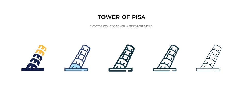 tower of pisa icon in different style vector illustration. two colored and black tower of pisa vector icons designed in filled, outline, line and stroke style can be used for web, mobile, ui