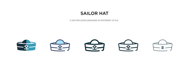 sailor hat icon in different style vector illustration. two colored and black sailor hat vector icons designed in filled, outline, line and stroke style can be used for web, mobile, ui