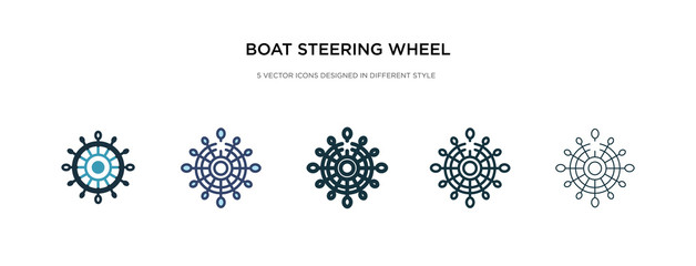 boat steering wheel icon in different style vector illustration. two colored and black boat steering wheel vector icons designed in filled, outline, line and stroke style can be used for web,