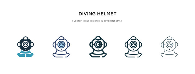 diving helmet icon in different style vector illustration. two colored and black diving helmet vector icons designed in filled, outline, line and stroke style can be used for web, mobile, ui