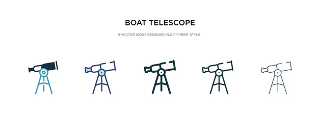 boat telescope icon in different style vector illustration. two colored and black boat telescope vector icons designed in filled, outline, line and stroke style can be used for web, mobile, ui