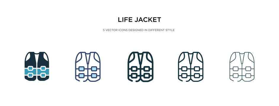 life jacket icon in different style vector illustration. two colored and black life jacket vector icons designed in filled, outline, line and stroke style can be used for web, mobile, ui