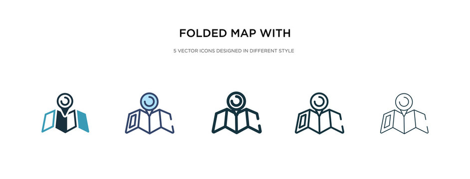 folded map with placeholder icon in different style vector illustration. two colored and black folded map with placeholder vector icons designed in filled, outline, line and stroke style can be used