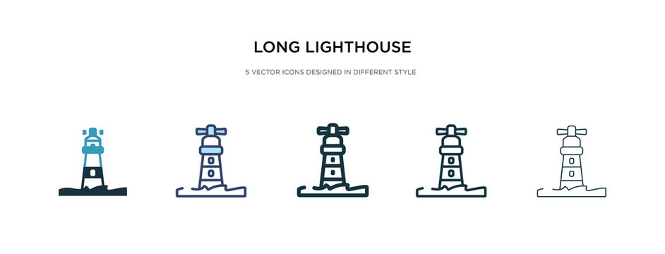 long lighthouse icon in different style vector illustration. two colored and black long lighthouse vector icons designed in filled, outline, line and stroke style can be used for web, mobile, ui