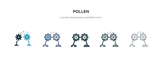 pollen icon in different style vector illustration. two colored and black pollen vector icons designed in filled, outline, line and stroke style can be used for web, mobile, ui