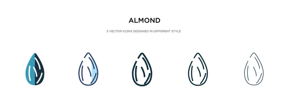 almond icon in different style vector illustration. two colored and black almond vector icons designed in filled, outline, line and stroke style can be used for web, mobile, ui