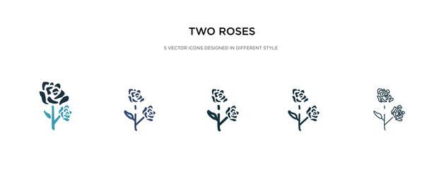 two roses icon in different style vector illustration. two colored and black two roses vector icons designed in filled, outline, line and stroke style can be used for web, mobile, ui