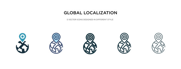global localization icon in different style vector illustration. two colored and black global localization vector icons designed in filled, outline, line and stroke style can be used for web,