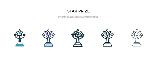 star prize icon in different style vector illustration. two colored and black star prize vector icons designed in filled, outline, line and stroke style can be used for web, mobile, ui