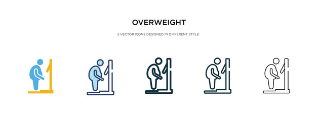 overweight icon in different style vector illustration. two colored and black overweight vector icons designed in filled, outline, line and stroke style can be used for web, mobile, ui