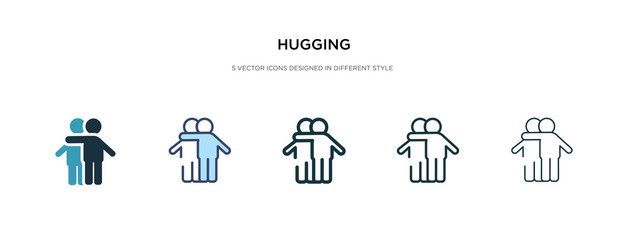 Fototapeta hugging icon in different style vector illustration. two colored and black hugging vector icons designed in filled, outline, line and stroke style can be used for web, mobile, ui obraz
