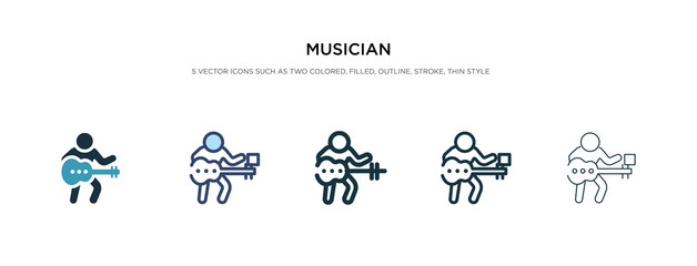 musician icon in different style vector illustration. two colored and black musician vector icons designed in filled, outline, line and stroke style can be used for web, mobile, ui