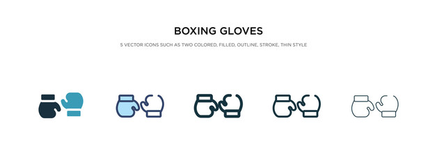 boxing gloves icon in different style vector illustration. two colored and black boxing gloves vector icons designed in filled, outline, line and stroke style can be used for web, mobile, ui