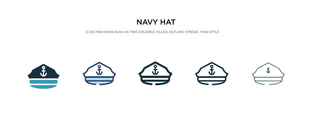 navy hat icon in different style vector illustration. two colored and black navy hat vector icons designed in filled, outline, line and stroke style can be used for web, mobile, ui