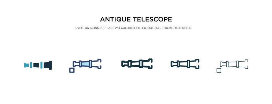 antique telescope icon in different style vector illustration. two colored and black antique telescope vector icons designed in filled, outline, line and stroke style can be used for web, mobile, ui