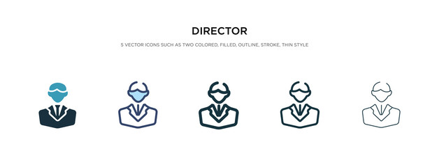 director icon in different style vector illustration. two colored and black director vector icons designed in filled, outline, line and stroke style can be used for web, mobile, ui
