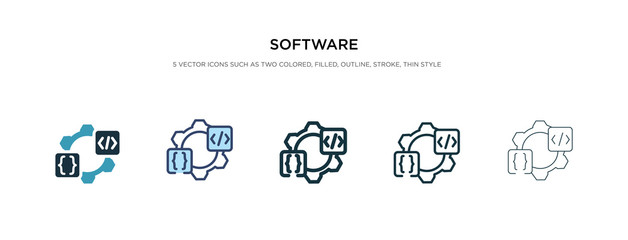 software icon in different style vector illustration. two colored and black software vector icons designed in filled, outline, line and stroke style can be used for web, mobile, ui