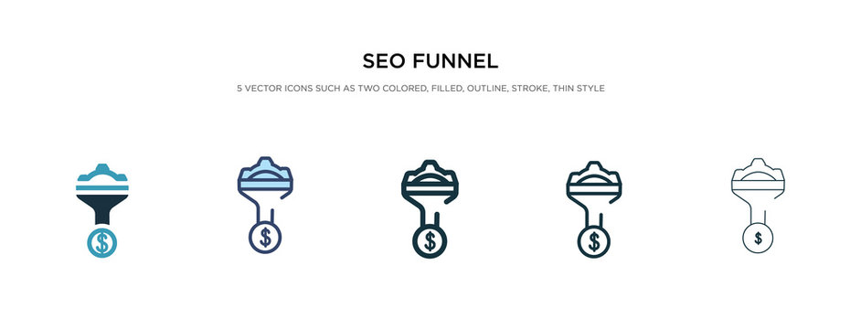 seo funnel icon in different style vector illustration. two colored and black seo funnel vector icons designed in filled, outline, line and stroke style can be used for web, mobile, ui