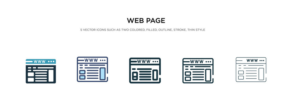 web page icon in different style vector illustration. two colored and black web page vector icons designed in filled, outline, line and stroke style can be used for web, mobile, ui