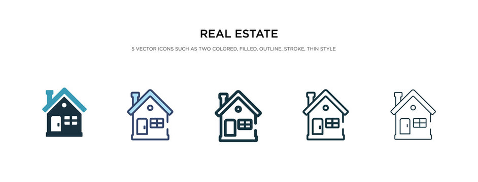 real estate icon in different style vector illustration. two colored and black real estate vector icons designed in filled, outline, line and stroke style can be used for web, mobile, ui