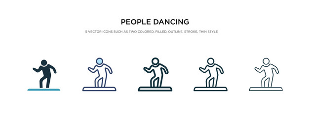 people dancing icon in different style vector illustration. two colored and black people dancing vector icons designed in filled, outline, line and stroke style can be used for web, mobile, ui