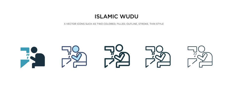 islamic wudu icon in different style vector illustration. two colored and black islamic wudu vector icons designed in filled, outline, line and stroke style can be used for web, mobile, ui