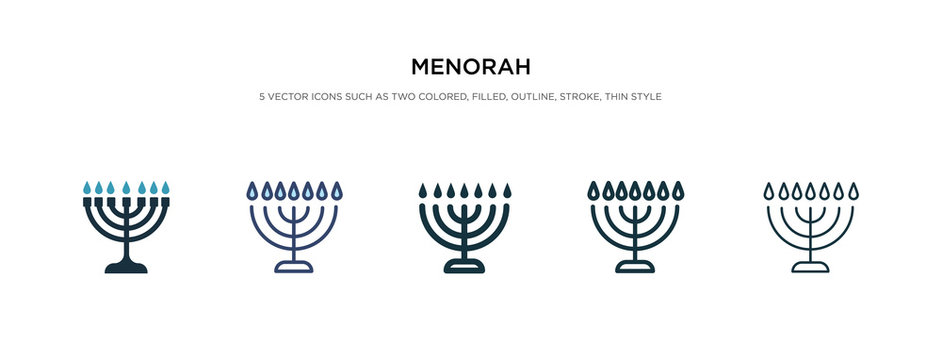 menorah icon in different style vector illustration. two colored and black menorah vector icons designed in filled, outline, line and stroke style can be used for web, mobile, ui