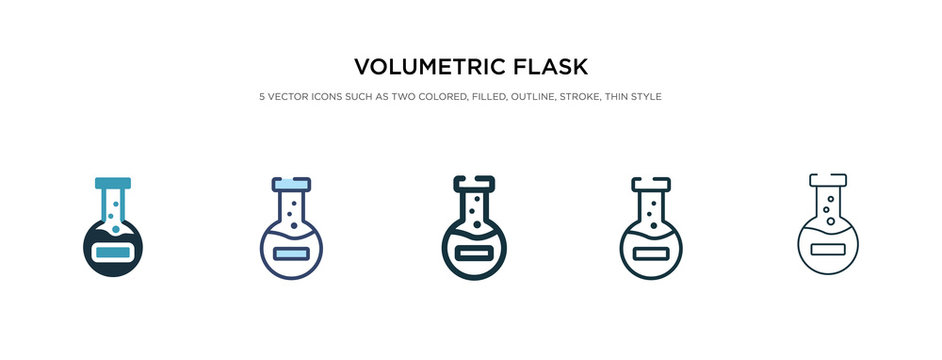 volumetric flask icon in different style vector illustration. two colored and black volumetric flask vector icons designed in filled, outline, line and stroke style can be used for web, mobile, ui