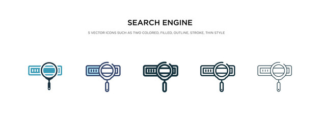 search engine icon in different style vector illustration. two colored and black search engine vector icons designed in filled, outline, line and stroke style can be used for web, mobile, ui