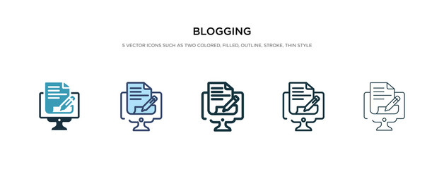 blogging icon in different style vector illustration. two colored and black blogging vector icons designed in filled, outline, line and stroke style can be used for web, mobile, ui