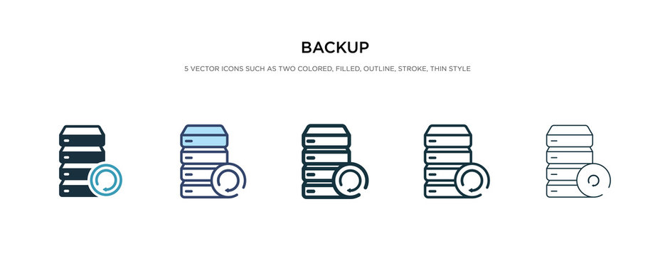 backup icon in different style vector illustration. two colored and black backup vector icons designed in filled, outline, line and stroke style can be used for web, mobile, ui