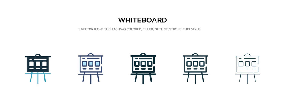 whiteboard icon in different style vector illustration. two colored and black whiteboard vector icons designed in filled, outline, line and stroke style can be used for web, mobile, ui
